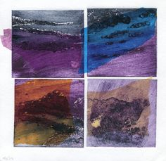 Four collagraph plates with chine colle