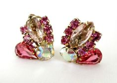 Fabulous Gift Idea! Vintage Estate Juliana D&E Pink Rhinestone Night Out Earrings  on Gold Tone Metal Clip-on Backs.  The earrings are in three  shades of Pink Rhinestones and one round Champa... #ecochic
