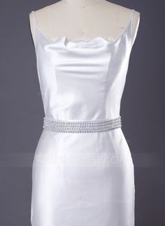 Delicate Satin Women's Wedding/Bridal Ribbon Sash With Beading (015033780)