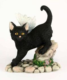 Midnight Fairy Cat Figurine - Faerie Glen Fairy Cat Collection