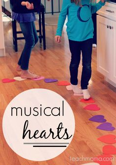 musical hearts reading, moving, & crazy-fun kid game  teachmama.com  (would need adjustments for non-readers)