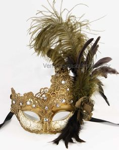 Feather Venetian Mysterious Halloween beige accent Lace Masquerade Ball Eye Mask #Handmade