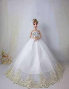 Fashion Royalty Princess Wedding Dress gown+veil for Barbie Doll