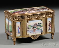 Austrian Gold-washed Silver and Enamel Japonesque Jewelry Box, Vienna, late 19th/early 20th century, .900 fine, bureau-form, with block-fronted front panel, upper rim applied with finely scrolled and beaded band, raised on tapering legs, set to the hinged lid with enamel plaque decorated with figures before a pagoda, and to all sides with further enamel plaques with landscapes and figures.