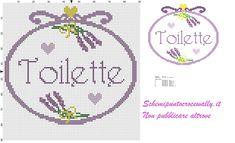 quadretto toilette con mazzolino di lavanda semplice schema puntocroce