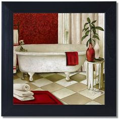 Red Bain I Bathroom Black Framed Art Print Poster 12x12 ($30) ❤ Liked On