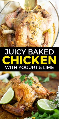 A super delicious Keto Baked Chicken recipe served with Greek yogurt and fresh limes. Easy to make and so versatile. It will become one of your go-to low-carb healthy dinner recipes.