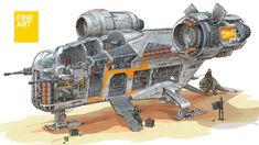 Mandalorian's Razor Crest cross-section. The Mandalorian with his allies are preparing for the flight to Nevarro. Star Wars Ships, Star Wars Art, Star Trek, Mandalorian Ships, Video Game Artist, Cuadros Star Wars, Rpg Map, Star Wars Spaceships, Starship Concept