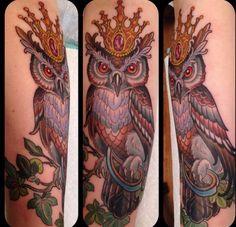 Crowned owl tattoo by Kim Saigh at Memoir Tattoo