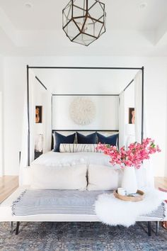 How to Use a Juju Hat in Home Decor navy modern master bedroom navy black and white home decor juju hat above bed juju hat bedroom decor black nigh stands marble lamps gold base sofa at the end of bed - March 16 2019 at Home Decor Inspiration, Interior, Home Decor Bedroom, White Home Decor, Home Decor, Storage Furniture Living Room, House Interior, Bedroom Inspirations, Interior Design