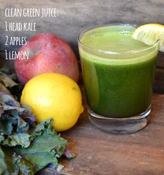 Clean Green Juice - Simple and with only a few ingredients, this juice is easy to make and a great way to get some fruits and veggies for the day. Though we used Pippin apples and red kale, any combination of apples and kale will do just fine.