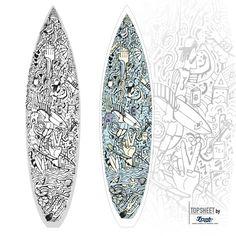 Our latest surfboard design, called SURFMULTIKULTI. For shaper surfboardbilding, fabric for lamination onto boards.