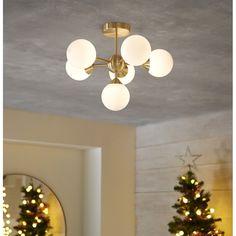 Metro Lane Kuhn 6-Light Semi Flush Mount & Reviews   Wayfair.co.uk Sloped Ceiling, Ceiling Lights, Classic Interior, Living Room Lighting, Home Living Room, Modern Design, New Homes, Bulb, Lighting Ideas
