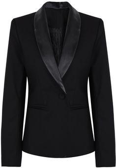 Black Contrast Lapel Long Sleeve Slim Blazer EUR€27.27