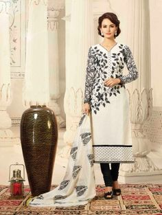 White Chanderi Suit with Embroidery Work