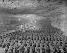 April 15, 1945. The 90th Division of the U.S. Third Army discovered this cache of Reichsbank wealth, SS loot and Berlin museum paintings that were removed from Berlin to a salt mine vault in Merkers, Germany.