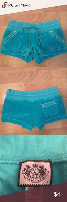 Juicy Couture velour shorts Juicy Couture teal velour shorts Juicy Couture Shorts Jean Shorts