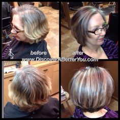 Medium   Natural level 5 with 50% gray, added level 6 Natural Ash lowlights and lifted and toned highlights with level 10 Ash, pulled through a level 8 violet between foils to mask old faded brassy ends