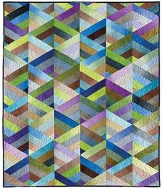 """The quilt is constructed of pieced triangles cut from a jelly roll. The other two quilts included in the pattern are also quick jelly roll strip quilts.    """"Weave"""" (left) and """"Rainbow Square"""" (right) are just as lovely as """"Prism""""."""