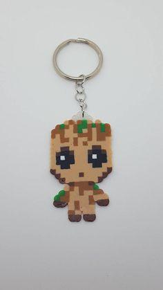 Items similar to Baby Groot Keychain on Etsy Mini Hama Beads, Diy Perler Beads, Perler Bead Art, Pearler Beads, Fuse Beads, Easy Perler Bead Patterns, Melty Bead Patterns, Beading Patterns, Pixel Art