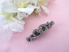 Small Vintage look antiqued bow crystal hair clip barrette French Clip