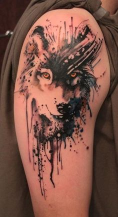 Wolf tattoo would look good in a sleeve tattoo