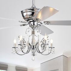 Warehouse of Tiffany Silver Orchid Finlayson 52 in. Indoor Chrome Remote Controlled Ceiling Fan with Light - The Home Depot Branch Chandelier, Ceiling Fan Chandelier, Ceiling Lights, Ceiling Fans, Fan Light Fixtures, Ceiling Fan Makeover, Ceiling Fan With Remote, Bronze, Cool Floor Lamps
