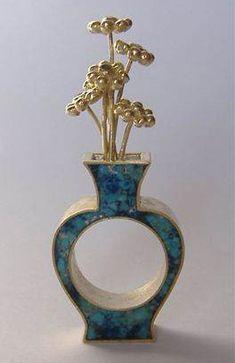 Francesca di Ciaula – ring,gold 18 kt, silver, turquoise, lapis, emeralds, rubies