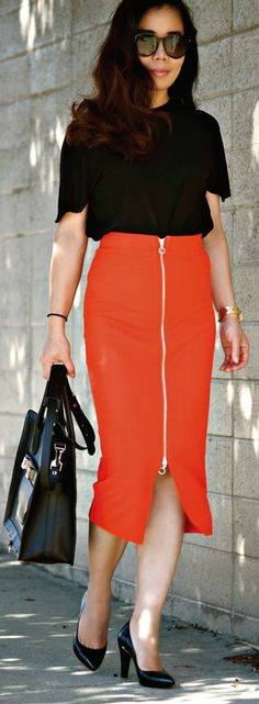 Hm Red Front Zip High Waisted Midi Skirt by Hallie Daily