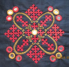 My craft works: Kutch work motif and a cross stitch Ta. Embroidery On Kurtis, Hand Embroidery Dress, Basic Embroidery Stitches, Hand Embroidery Videos, Embroidery Works, Hand Embroidery Stitches, Hand Embroidery Designs, Embroidery Techniques, Creative Embroidery