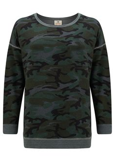 SUNDRY Camo Tunic Pullover - Charcoal Camo