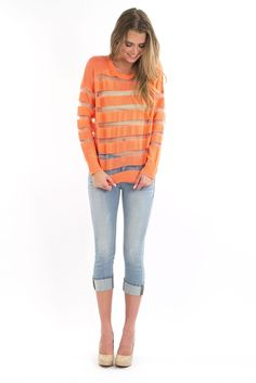 Striped Sheer Top - Bright Orange | FoxyLux