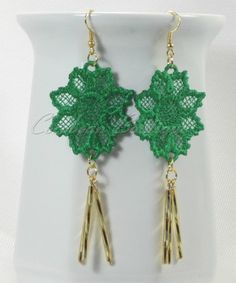 FSL Free standing lace embroidery earrings by CocobeanBoutique, $5.00