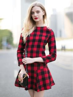 Red Plaid Blouse And Skate Skirt - Choies.com