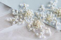 Lace hair piece bridal headpiece lace headpiece lace by Leteria