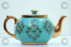 vintage teapots | Turquoise and Gold Antique Teapot stock photo - Download antique ...
