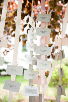seating cards hanging from pink #ribbon  Photography by lizmaryann.com  Read more - http://www.stylemepretty.com/2013/09/26/keswick-virginia-wedding-from-liz-maryann-photography/