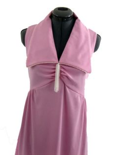 Vintage 70s Pink Empire Pearl trimmed Evening Dress