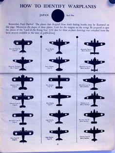 1942 WWII Warplane Identification Chart, Japanese Air Force 1942. Силуэты самолетов для распознавания, где враг, а где друг.