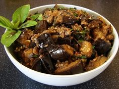 For all the aubergine (eggplant) fans out there, if you like my aubergine recipes here is another one for you. The recipe is something I put together what I can find in my fridge and overload of basil in the garden. It's Thai flavour combining some of my favourite ingredients together. It's not pretty but very yummy.