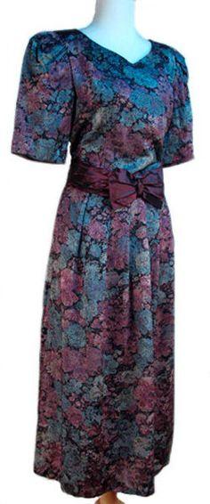 Full Length Shimmer Brocade Vintage Sash Dress - Lanz Original - Sz 10 - Hey Viv #Lanz