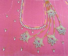 Blouse Designs High Neck, Hand Work Blouse Design, Simple Blouse Designs, Blouse Designs Silk, Bridal Blouse Designs, Bead Embroidery Patterns, Hand Embroidery Designs, Aari Work Blouse, Maggam Work Designs