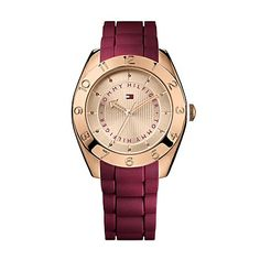 Tommy Hilfiger women's watch. Of-the-moment rose gold turns a masculine shape into something supremely chic. The bold bracelet and numerals are the perfect counterpoint to the feminine, modern hue. Prepare for compliments. <br/>• Rose gold-plated stainless steel. <br/>• 40mm case, three-hand quar…
