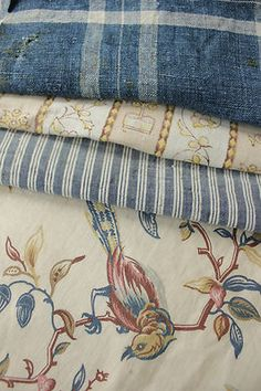 Antique Vintage French Fabrics Materials Project Bundle Aged Blues | eBay