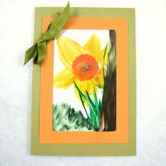 Card, Daffodils, First Sign of Spring by Maxine Veronica - Handmade Greetings Cards, ACEO, Art & Encaustic Work on Folksy