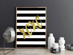Printable,XOXO,Gift For Her,Girly Print,Girls Room Decor,Girls Bedroom Decor,Nursery Girls,Xoxo Gold Foil,Xoxo Print,Love…