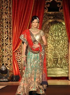 Gold and mint colored bridal clothing, indian bridal clothing vikram phadnis bridal collection 2013