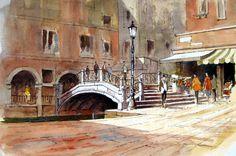Venice Bridge ~ John Edwards Watercolor Pictures, Watercolor Sketch, Watercolor Paintings, Watercolours, Venice Bridge, John Edwards, Landscape Sketch, Urban Sketchers, Illustration Sketches