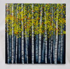 """Imagine a beautiful birch forest in the fall, with a touch of moonlight illuminating the fiery yellow and orange leaves, the dappled white tree trunks. 14"""" x 14"""" x .5"""" 700.00 by PezzulichGlassworks"""