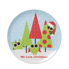 Cute Owl Family Christmas Plates